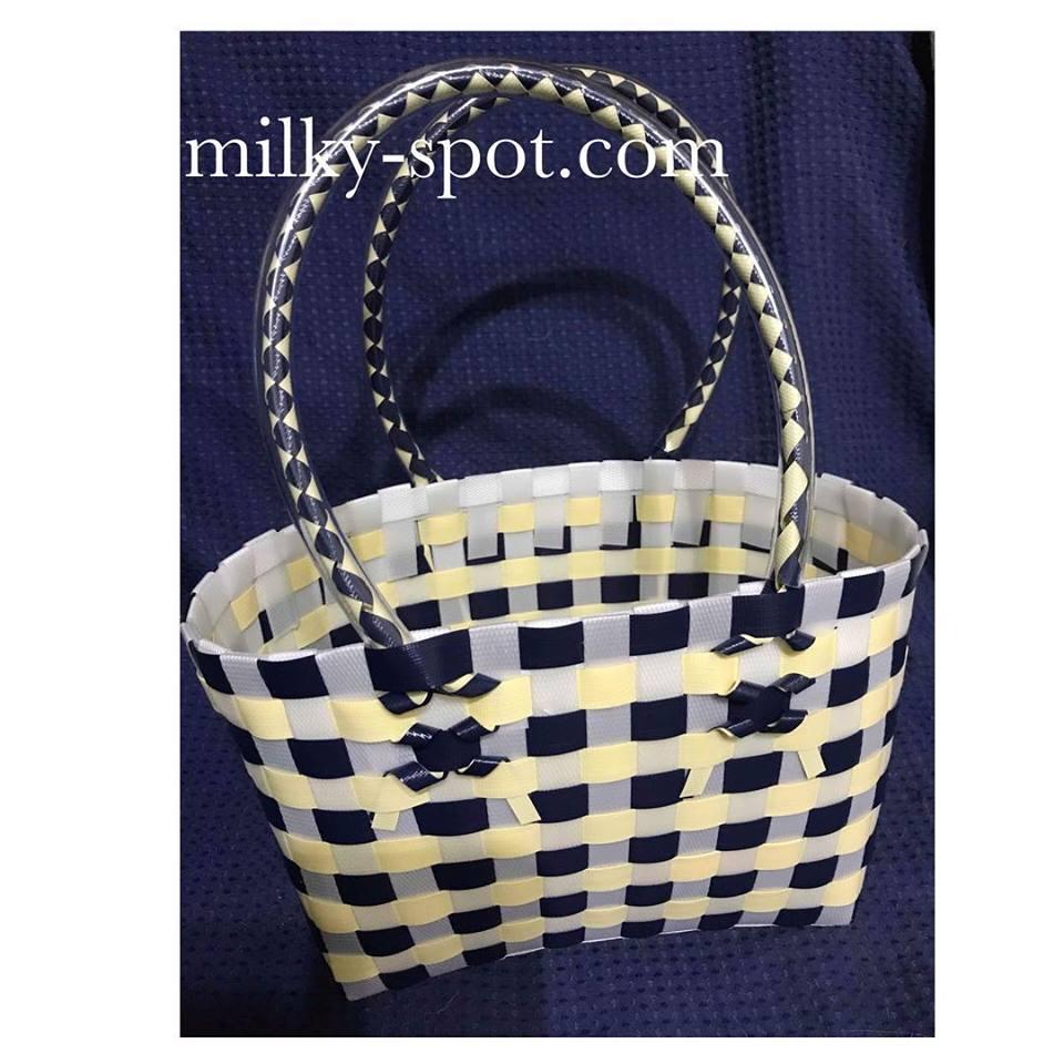 プラスティックバンドで作る籠バッグのイメージ