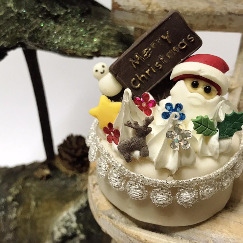 樹脂粘土,サンタクロース,ケーキ,ミニチュア